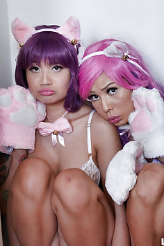 Cosplay cat girls get into naughty trouble