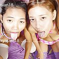 Topless and naked Thai girls lewd tongues - image