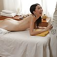 Skinny Chinese girl gets reverse Nuru asshole massage - image