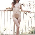 Naked by the pool with skinny Mila Jade - image