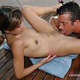 Petite Asian teen porn style grinding out by the pool - image
