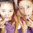 Messy faced young Thai girls naked and sticky - image